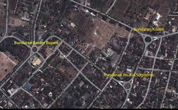 Peta 3 (tiga) Bundaran di Kota Wonosari.