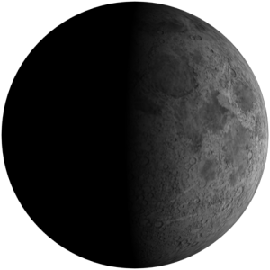 Bulan Perbani Awal atau First Quarter Moon.