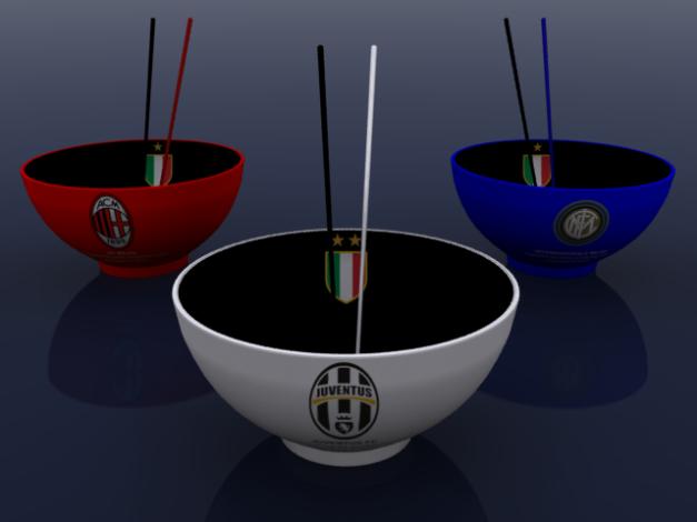 """3 (tiga) mangkok berlabel klub-klub paling sukses di Serie A Liga Italia. berjajar dalam formasi """"Boyband"""" dirender dari posisi """"Tampak Depan""""."""