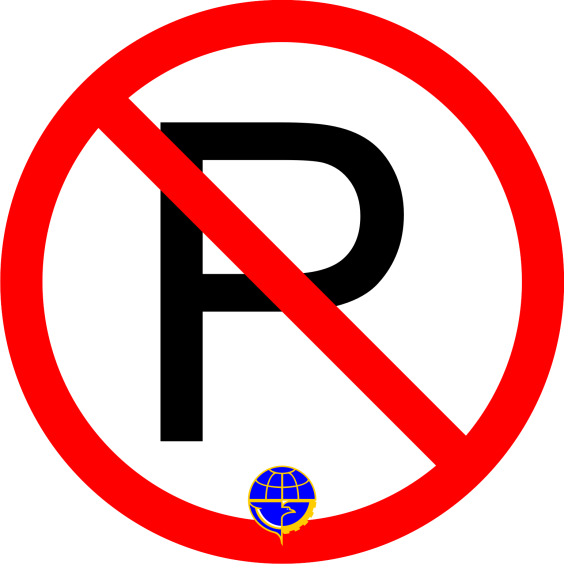 "Rambu Lalu Lintas ""Dilarang Parkir"" lengkap dengan logo Dephub-nya, persis seperti yang terpasang ditepi-tepi jalan."
