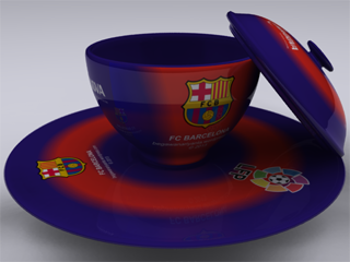 """Cangkir FC Barcelona diwarnai sesuai dengan kostum """"Home""""."""