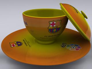 """Cangkir FC Barcelona diwarnai sesuai dengan kostum """"Away""""."""