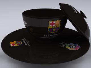Cangkir FC Barcelona diwarnai sesuai dengan warna kostum ketiga.