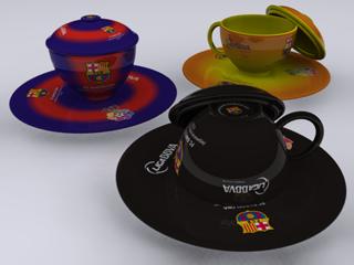 Tiga cangkir FC Barcelona dengan tiga warna kostum berbeda.