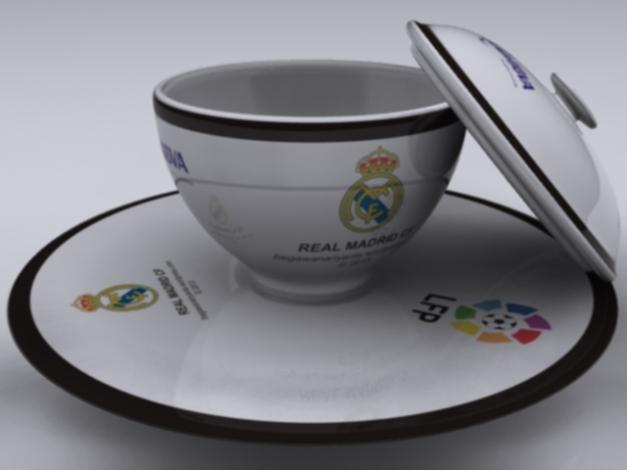 """Cangkir Real Madrid CF diwarnai sesuai warna kostum """"Home"""" mereka."""