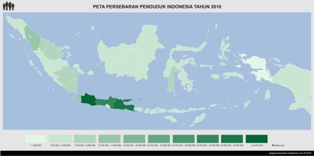 Peta jumlah penduduk Indonesia menurut Propinsi.