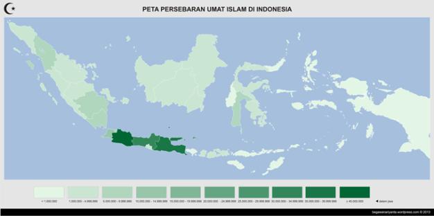 Peta persebaran umat Islam di Indonesia menurut propinsi berdasarkan sensus Badan Pusat Statistik (BPS) tahun 2010.