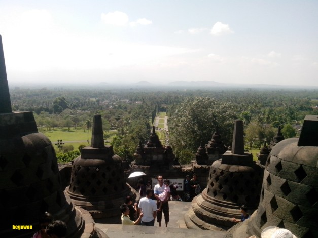 the view from 2nd stage arupadhatu in borobudur temple, Magelang, Central Java, Indonesia